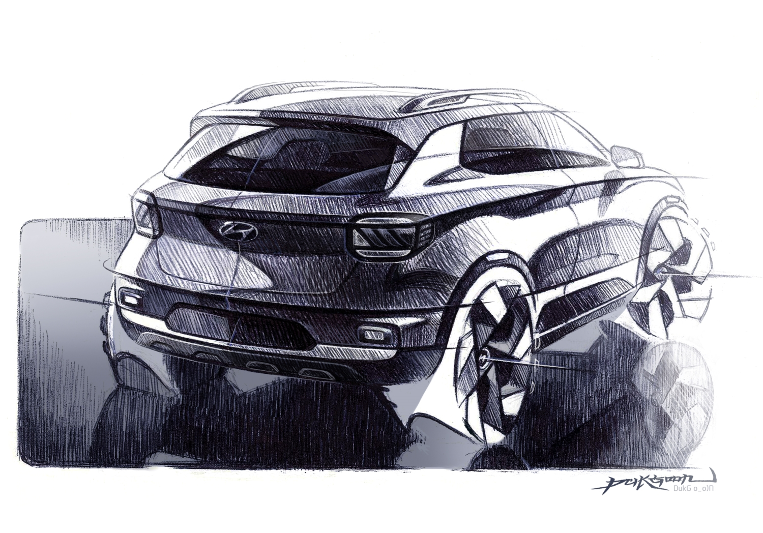 Hyundai Venue Rear View Sketch
